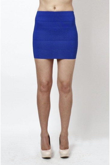 LoveMelrose.com From Harry & Molly | Banded Bodycon Mini Skirt- Bright Blue - SKIRTS - BOTTOMS