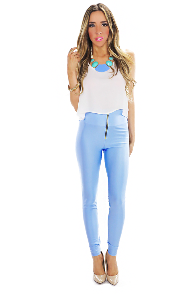 LORIN HIGH WAISTED LEGGINGS - Blue | Haute & Rebellious