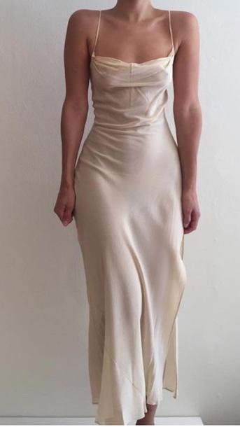 80b104b47baa dress beige spaghetti strap satin dress pinterest silk silk dress slit dress  prom white slip dress