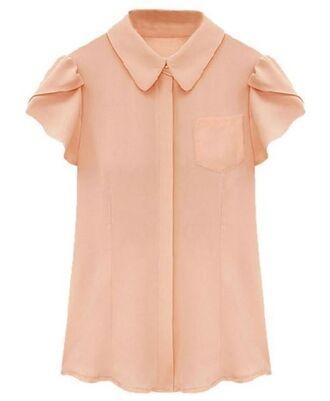 shirt pink shirt pink chiffon chiffon shirt lotus leaf sleeves bell sleeves pointed collar hidden button front www.ustrendy.com