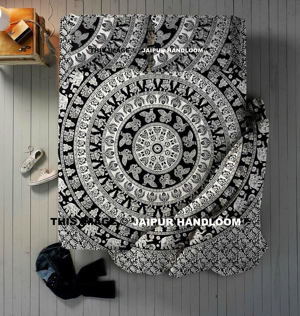 4 PCs Black & White Mandala Indian Queen Donna Duvet Quilt Cover Set Bedding