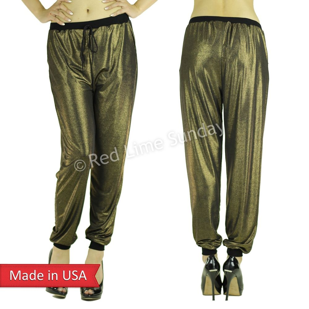 Glitter Metallic Gold Black Drawstring Jogger Jogging Pants Bottom Regular Plus
