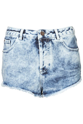 MOTO Acid Wash Denim Hotpants - Topshop