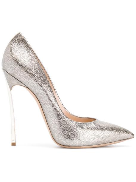 CASADEI women pumps leather grey metallic shoes