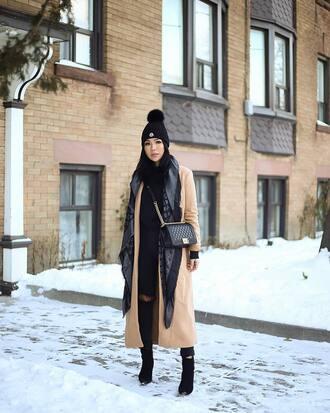 coat tumblr camel camel coat camel long coat long coat scarf beanie black beanie boots black boots ankle boots bag black bag