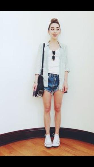 bag leather bag studded bag white converse denim hotpants shorts
