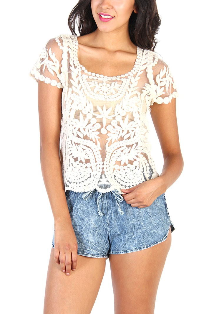 Ivory Floral Lace Short Sleeve Top