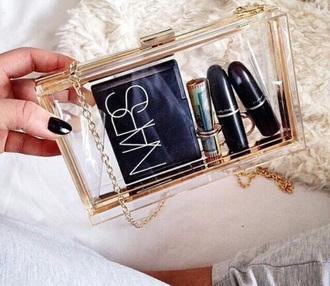 bag makeup bag clear cute transparent gold transparent  bag clear clutch