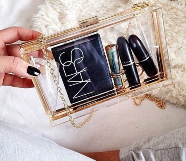 Bag: makeup bag, clear, cute, transparent, gold, transparent bag ...
