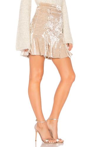 skirt mini skirt mini crushed velvet velvet beige