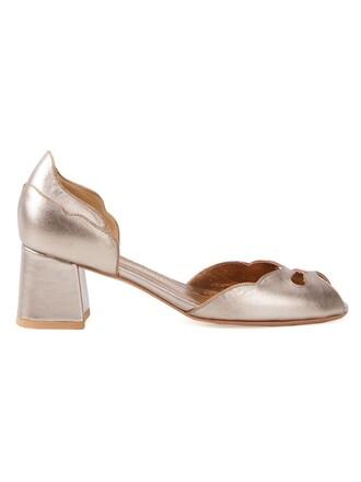 heel chunky heel women pumps grey metallic shoes