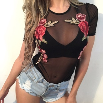 blouse embroidered girly mesh mesh top sheer black floral