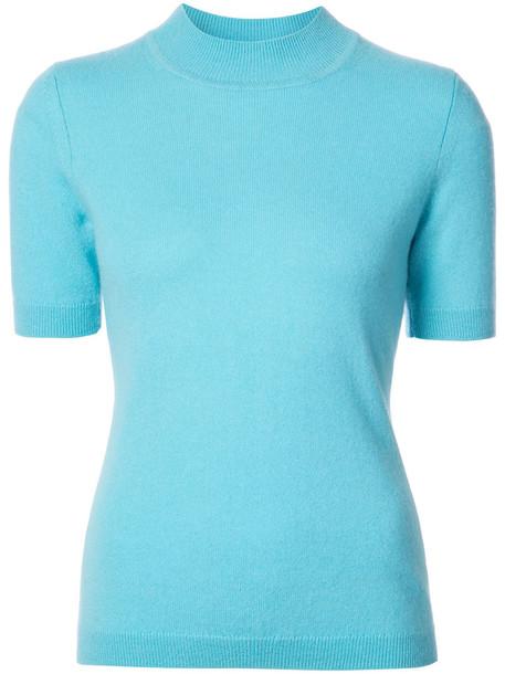 top knitted top short women blue