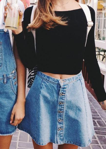 Skirt soft grunge denim skirt denim tumblr american ...