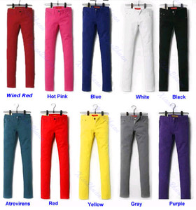 Women Sexy Candy Colors Pencil Pants Slim Fit Skinny Stretch Jeans Trousers Hot | eBay