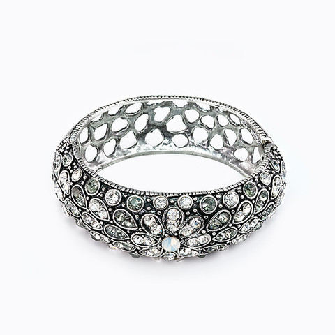 Vintage Crystal Encrusted Floral Bangle