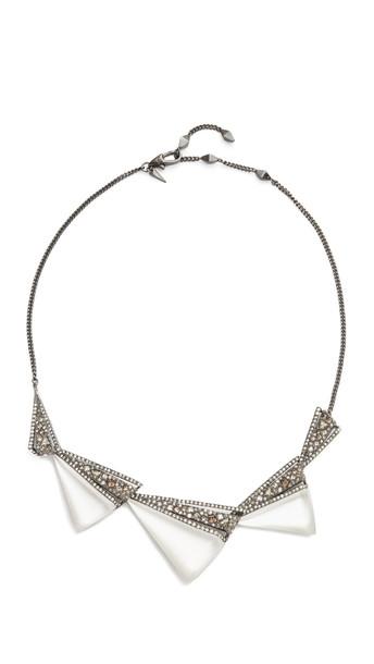 Alexis Bittar Graduated Origami Bib Necklace - Silver Multi
