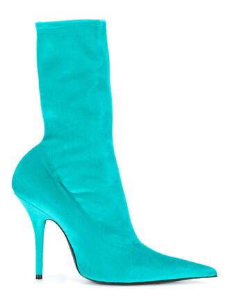 women booties leather blue velvet shoes
