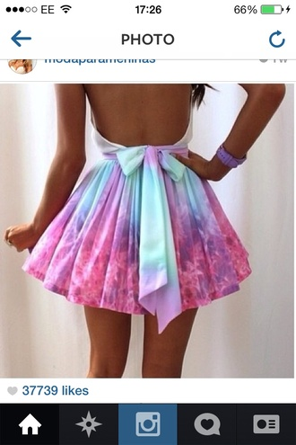 dress galaxy short open backed  bow backed pink dress purple dress cute pastel flames skater open back dresses skater skirt galaxy tie dye bow skirt