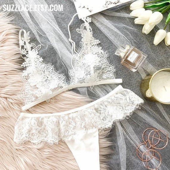 Bridal Lingerie, Wedding Lingerie, Lace Bralette, Embroidered Floral Applique, Boudoir Lingerie, Bridal Shower Gift, Women Underwear