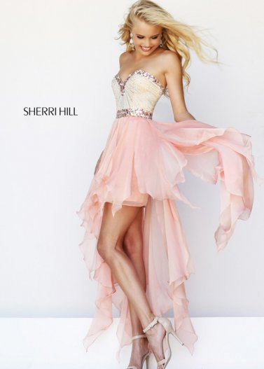 Pink Jeweled Neckline Waist High Low Sherri Hill 1920 Dress [Sherri Hill 1920 Pink] - $182.00 : Prom Dresses 2014 Sale, 70% off Dresses for Prom