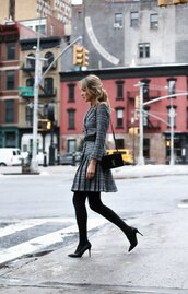 dress,tumblr,long sleeves,long sleeve dress,grey dress,mini dress,pleated,pleated dress,winter dress,winter work outfit,work outfits,tights,opaque tights,pumps,pointed toe pumps,high heel pumps,black heels,bag,black bag,shoulder bag,belted dress,belt