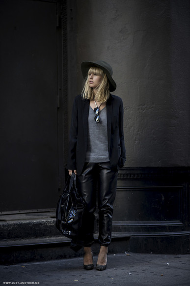 jacket sunglasses blogger bag felt hat jewels just another me leather pants
