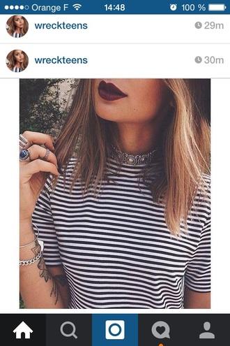 t-shirt striped shirt jewels