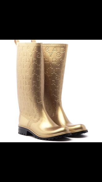 marc jacobs marc by marc jacobs gold wellies