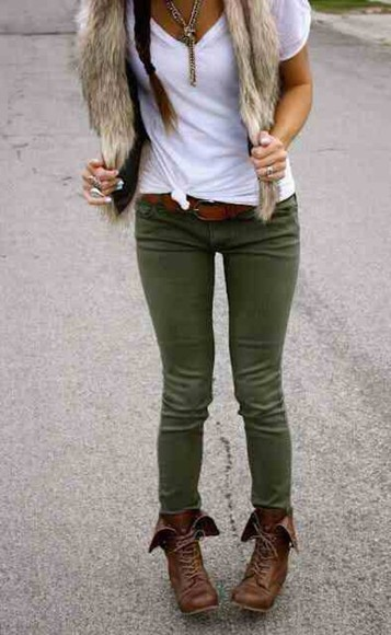 white vest pants fur tshirt green brown combat boots
