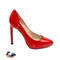 Red platform high heel pumps