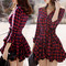 #1400 plaid pleated dress