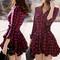 #1400 plaid pleated dress