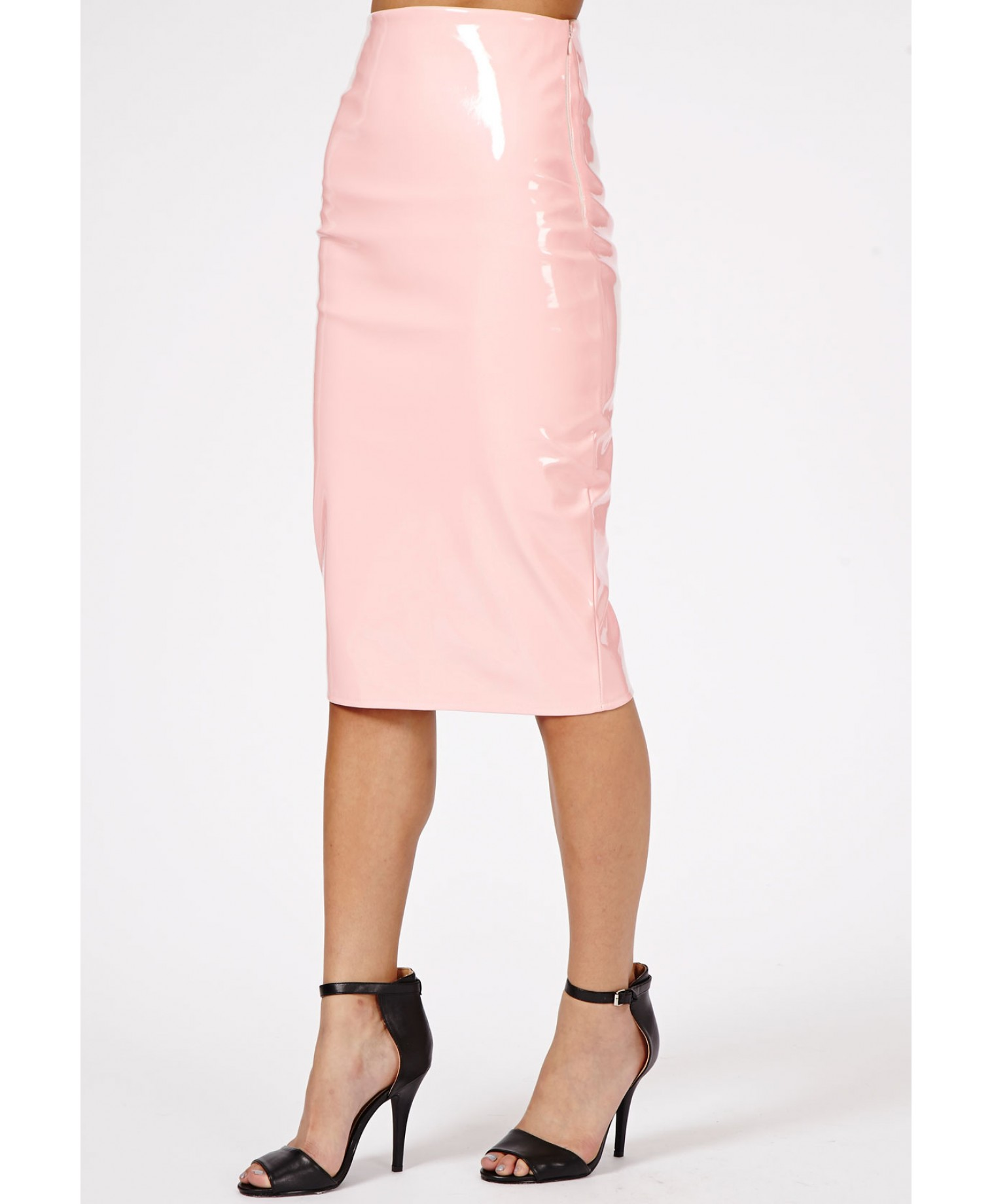 Missguided - Mircia PVC Midi Skirt In Baby Pink
