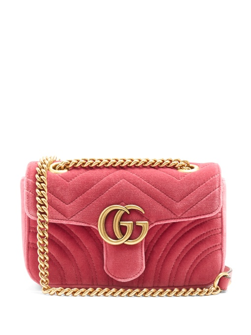 38d4aa4af395 GG Marmont mini quilted-velvet cross-body bag