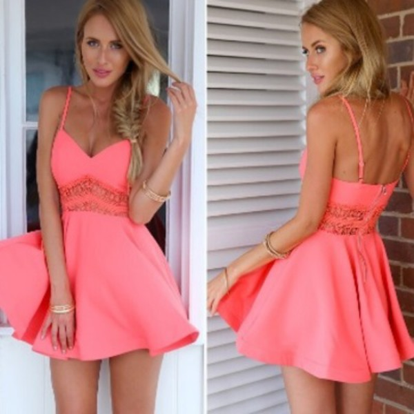 dress fashion mini dress pink neon neon pink neon dress pink dress skater dress summer. Black Bedroom Furniture Sets. Home Design Ideas