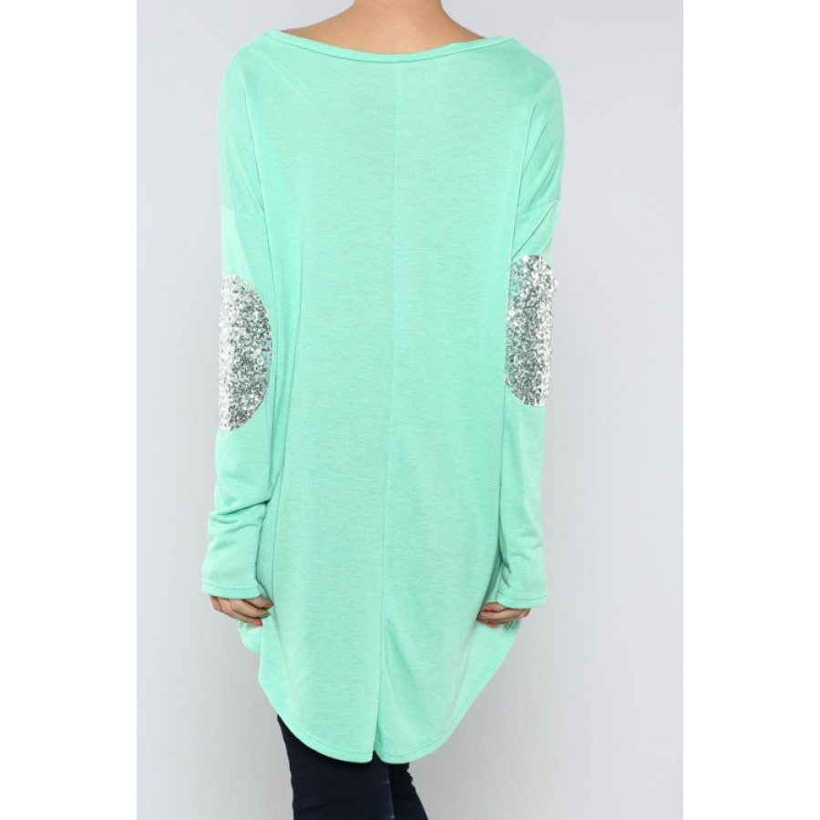 Sequin elbow patch tunic