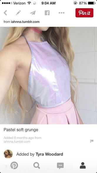 top grunge pastel crop tops holographic soft grunge