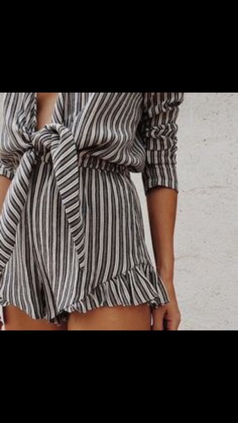 jumpsuit stripes short shorts romper