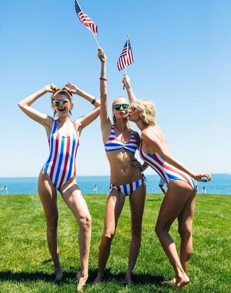 swimwear stripes striped bikini striped swimwear cara delevingne gigi hadid taylor swift summer july 4th instagram model off-duty