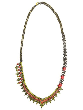 asymmetrical necklace jewelry gold red jewels