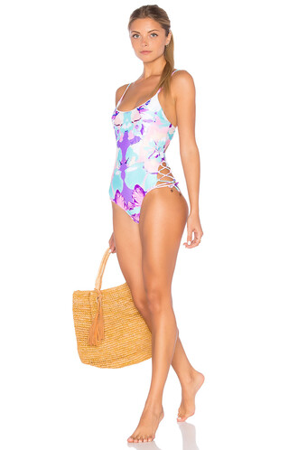one piece swimsuit girl purple swimwear