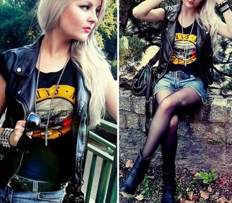shirt rock and roll vest shorts boots tights sunglasses guns and roses leather jacket jacket