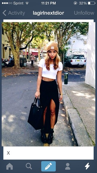 shirt black skirt slit skirt