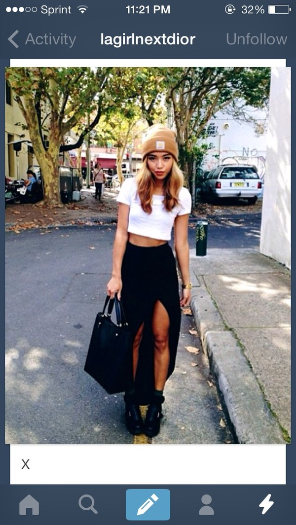 shirt black skirt slit skirt skirt cut open skirt beanie blouse long skirt long black skirt