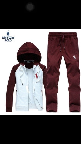jumpsuit burgundy chocolate red polo jacket polo jumpsuit polo shirt custom customize jacket pants sweatpants sweat sweats zip-up zip up jacket red polo sweater ralph lauren polo polo sport white horse rare very rare ralph lauren sweatsuit ralph lauren ralph lauren hoodie joggers