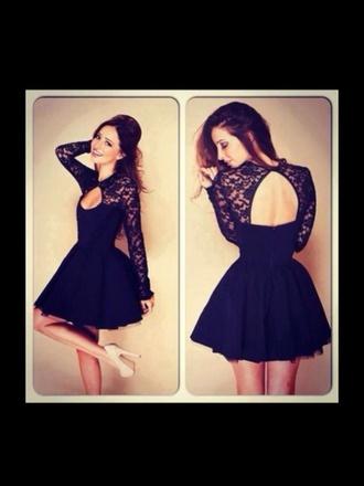 dress black lace long sleeved dress cute sexy short fluffy