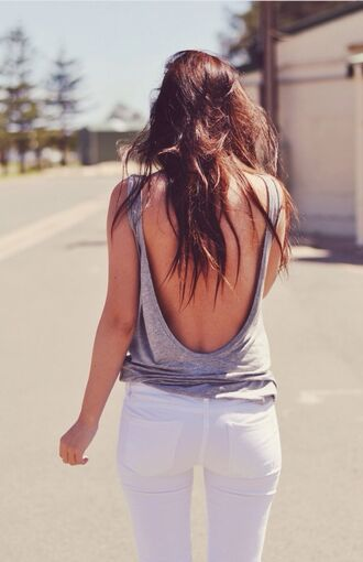 tank top grey gray tanktop low back sexy summer spring long hair white relax t-shirt shirt backless comfy open back cute loose tank blouse jeans backless shirt top backless top
