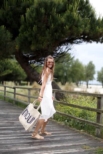 dress tumblr vacation outfits holidays midi dress white dress sandals flat sandals bag tote bag summer dress sunglasses shoes