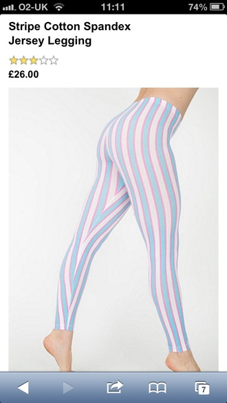 leggings american apparel stripes pink blue white hot tight nice cheap